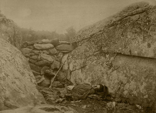 Alexander Gardner, Dead Confederate Sharpshooter in the Devil's Den, Gettysburg